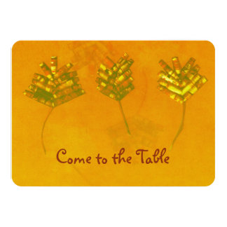 Rustic Paper Leaves Trio Thanksgiving Invitation