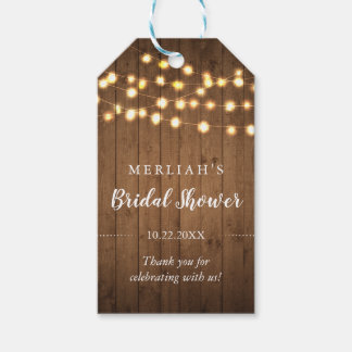 Rustic Party Lights Bridal Shower Thank You Gift Tags