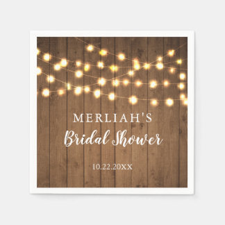Rustic Party Lights Bridal Shower Wedding Disposable Napkin