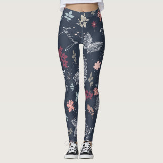 Rustic pattern with butterflies and flowers leggings