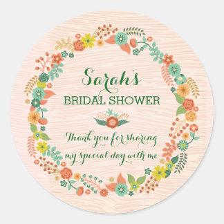 Rustic Peach Floral Wreath Bridal Wedding Shower Classic Round Sticker