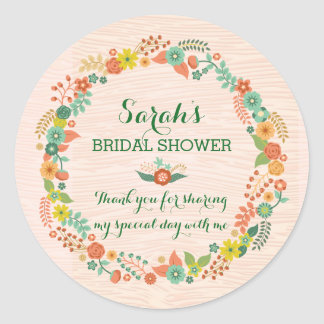Rustic Peach Floral Wreath Bridal Wedding Shower Round Sticker