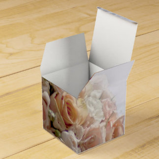 Rustic Peach Rose White Wedding Design Favour Box