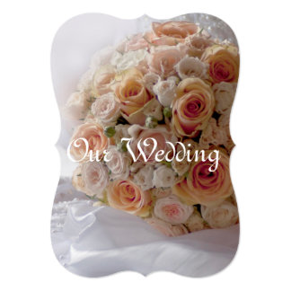 Rustic Peach Roses White Wedding Card