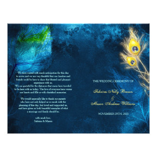 Rustic Peacock Blue Bi Fold Wedding Programs Flyer
