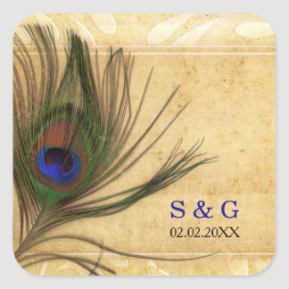 Rustic Peacock Feather wedding favors stickers