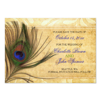 Rustic Peacock Feather wedding save the date 13 Cm X 18 Cm Invitation Card