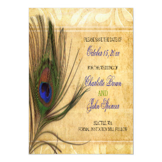 Rustic Peacock Feather wedding save the date Magnetic Invitations