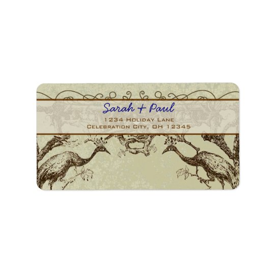 Rustic Peacock Return Address Label