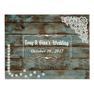 Rustic Pearls & Lace Wedding RSVP Postcard