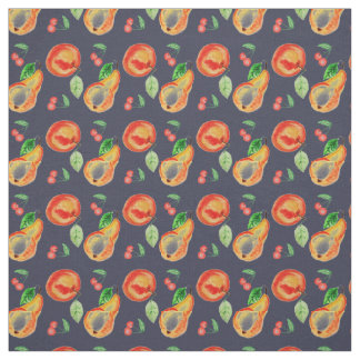 Rustic pears,  cherries and apple on blue fabric