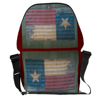 Rustic Peeling Lone Star Texas Flag Messenger Bag