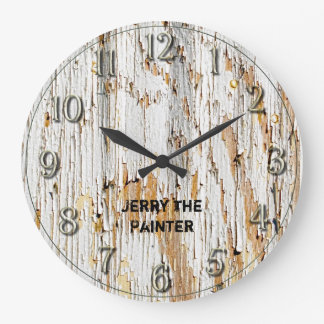 Rustic Peeling White Paint Abstract Photography Large Clock
