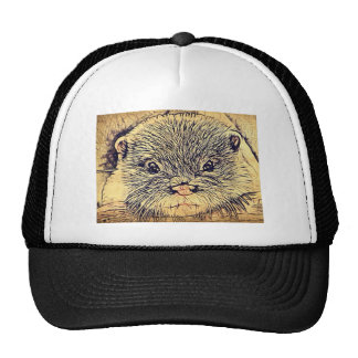 Rustic pencil sketch of wild Otter Hats