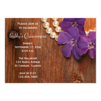 Rustic Periwinkle Pearls Quinceanera Invitation