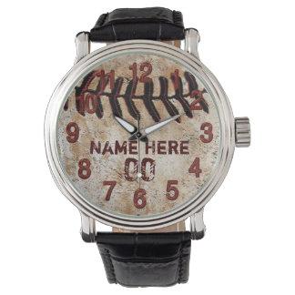 Rustic Personalized Baseball Watches for Guys