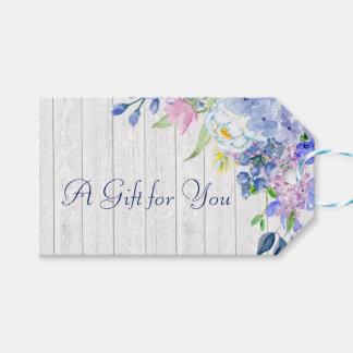 Rustic Personalized Watercolor Purple Hydrangeas Gift Tags