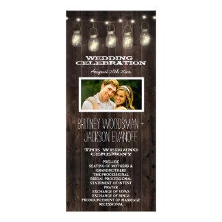 Rustic Photo Barn Wood Mason Jar Wedding Programs Rack Card