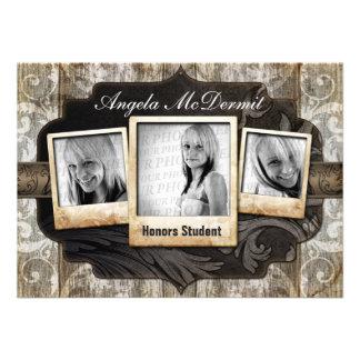 Rustic Photo Graduation Announcement Invite
