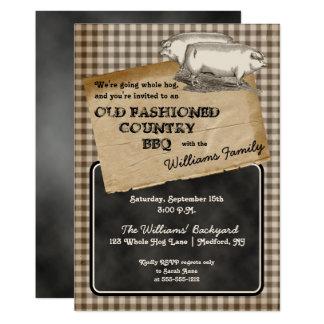 Rustic Pigs Pork Backyard Cookout BBQ Picnic Card