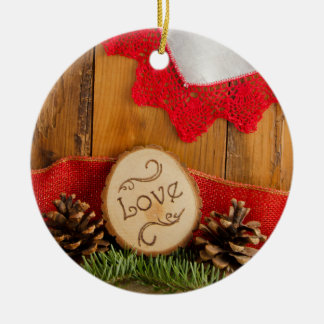 Rustic Pine and Red Lace Winter Woodland Wedding Ceramic Ornament
