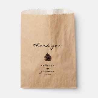 Rustic Pine Cone Thank You Gift Bags