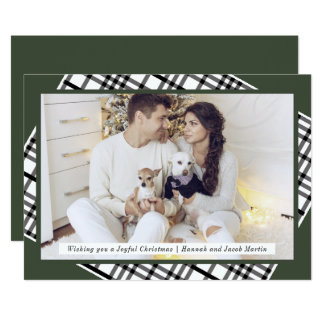 Rustic Pine Green and Plaid Christmas Photo Card