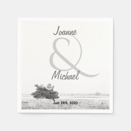 Rustic pine tree country wedding disposable napkins