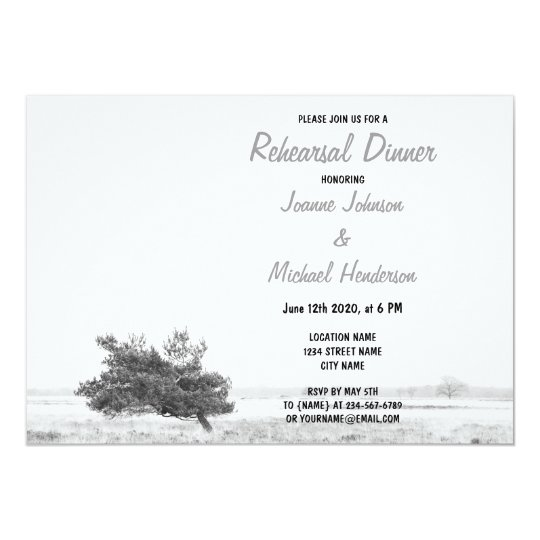 Rustic Pine Tree Country wedding Rehearsal Dinner Card