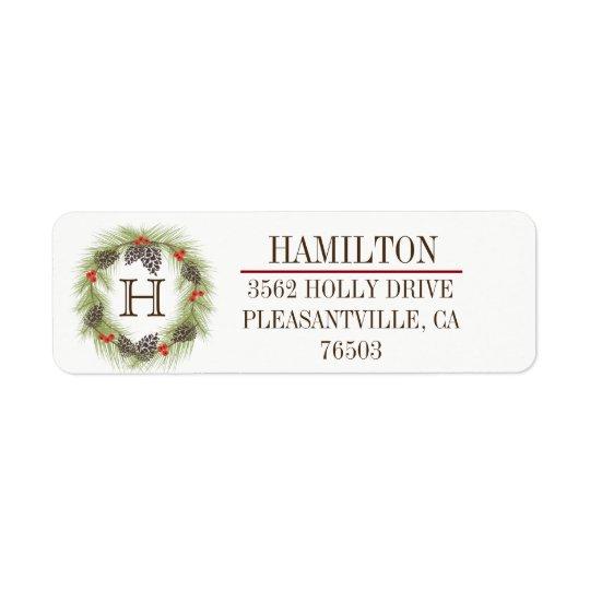 Rustic Pine Wreath Monogram Holiday Return Address Label