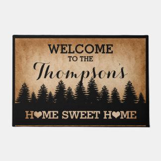 Rustic Pines Personalized (brown) Welcome Doormat
