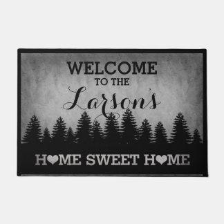 Rustic Pines Personalized (gray) Welcome Doormat