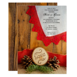 Rustic Pines Red Lace Post Wedding Brunch Invite