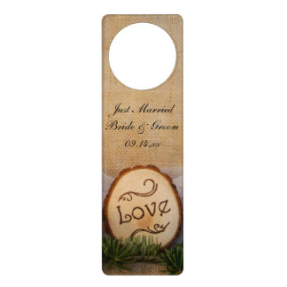 Rustic Pines Woodland Just Married Wedding Door Hanger