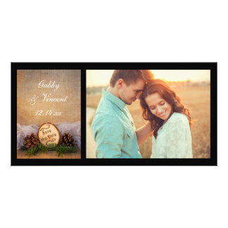 Rustic Pines Woodland Wedding Save the Date Photo Card Template