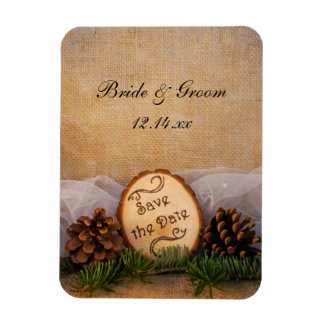 Rustic Pines Woodland Wedding Save the Date Rectangular Photo Magnet