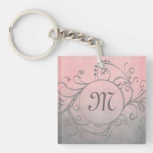 Rustic Pink and Grey Bohemian  Flourish Square Acrylic Key Chains