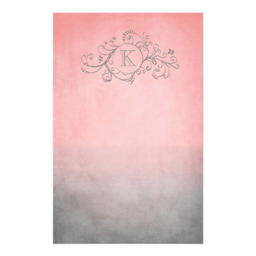 Rustic Pink and Grey Bohemian  Flourish Stationery Design