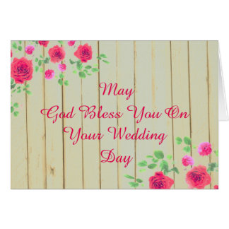 Rustic Pink And Grey Roses  Country Wedding Card
