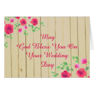 Rustic Pink And Roses  Country Wedding Card