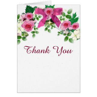 Rustic Pink And White Country Thank You Card