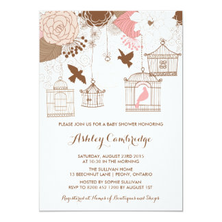 Rustic Pink Birdcages Baby Shower Invitation