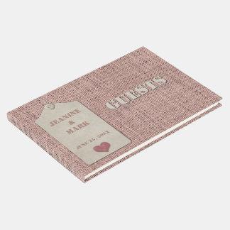 Rustic Pink Burlap Scrapbook Style Guest Book