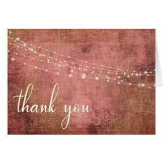Rustic Pink & Burlap Vintage & Lights, 2 Thank You Card