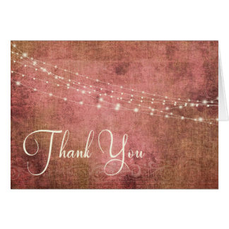 Rustic Pink & Burlap Vintage & Lights Thank You 1 Card