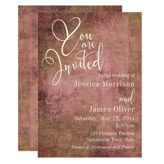 Rustic Pink & Burlap Vintage Typography Wedding Card