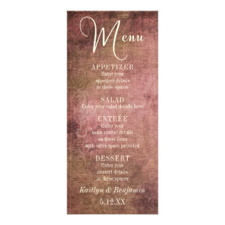 Rustic Pink & Burlap Vintage Wedding Menu