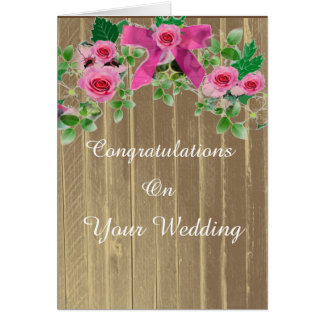 Rustic Pink Country Congratulations Wedding Card