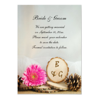 Rustic Pink Daisy Woods Wedding Save the Date Card
