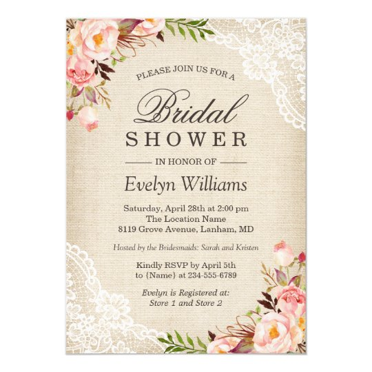 4f4088fbc2ca1 Rustic Pink Floral Ivory Burlap Lace Bridal Shower Invitation ...